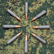 Eight cartridges on camouflage background bullets oriented inside — Stock Photo