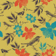 Stock Photo: Daffodils and birds. Seamless pattern. Vector illustration.