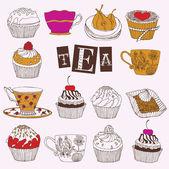 Tea. Cupcakes. Vector illustration. — Stock Photo