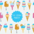 Retro vector illustration of ice cream. seamless pattern. — Stockvector