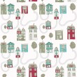Little town. seamless pattern — Stock Vector