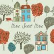 Home sweet home. Card. Seamless background. Vector illustration. — Stok Vektör
