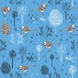 Stock Vector: Vintage seamless pattern with birds