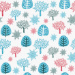 Vintage seamless pattern with trees. Vector illustration — Stock Vector