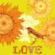 Vintage background with bird and sunflowers. — Stock Vector