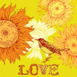 Vintage background with bird and sunflowers. — Векторная иллюстрация