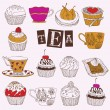 Tea. Cupcakes. Vector illustration. - Stock Vector