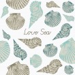 Abstract vector illustration with seashells. - Stock Vector