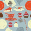 Royalty-Free Stock Vector Image: Tea and cakes. Seamless pattern. Vector illustration.
