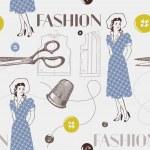 mode bakgrund med sax, knappar och kvinna. sömlös pa — Stockvektor