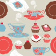 Tea and cupcakes. Seamless pattern. Vector illustration. — Stock Vector