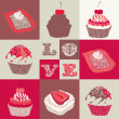 Love cupcakes.  Vector illustration. - Stock Vector
