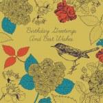 Birthday card. Bird and flowers. — Stock Vector