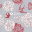Valentine's card. Swallows and flowers. Seamless pattern.  — 图库矢量图片