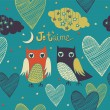 Valentine's card. Owls couple. Seamless pattern. — Stok Vektör