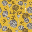 Valentine's card. Swallows and flowers. Seamless pattern. Vector — Imagen vectorial