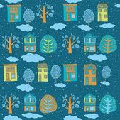 Kış aylarında küçük bir kasaba. sorunsuz geçmiş. vektör çizim. — Stok Vektör
