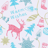 Warm wishes. Card with deers and christmas decorations. Vector i — Stock Vector
