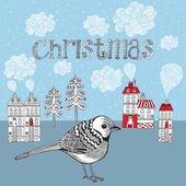 Christmas card with bird and winter little town. Vector illustra — Stock Vector