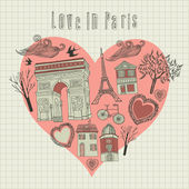 Valentine's card. Love in Paris. Vector illustration. — Stock Vector