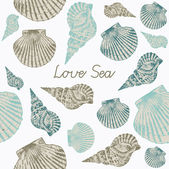 Abstract vector illustration with seashells. — Stock Vector