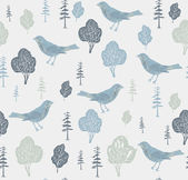 Birds and trees. Seamless pattern. Vector illustration. — Stock Vector