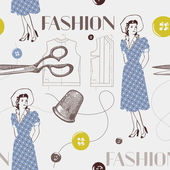 Fashion background with scissors, buttons and woman. Seamless pa — Stock Vector