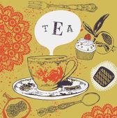 Tea. Cupcakes. Vector illustration. — Stock Vector