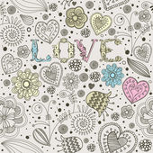 Valentine's card. Flowers. Seamless pattern. Vector illustration — Stock Vector