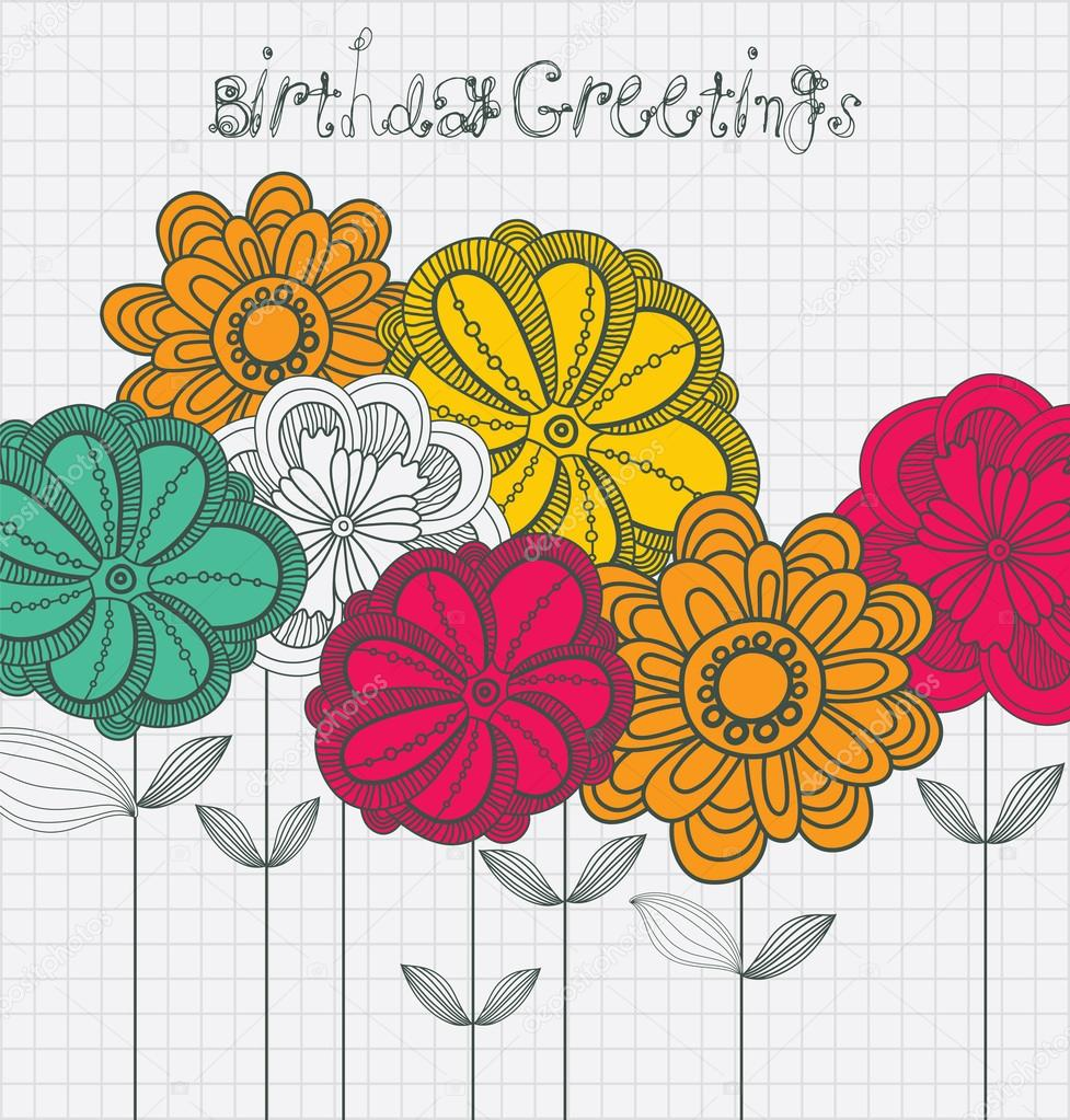 vintage birthday card with flowers.  stock vector © zolsssa, Birthday card