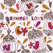 Birds and cages. Summer love. — Stock Vector