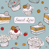 Seamless background with cakes. Sweet love card. — Stock Vector