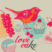 Card with cakes and bird. — Stock Vector