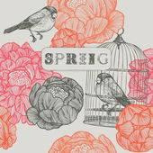 Spring background. Birds and cages. — Stock vektor