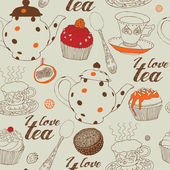 Seamless background with tea and sweets. — Vector de stock