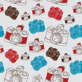 Vintage seamless pattern with camera. — Stock Vector