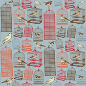 Birds and cages. Seamless pattern — Stock Vector