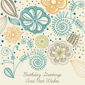 Kartka urodzinowa z kwiatami — Wektor stockowy