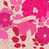 Retro floral background with roses. — Stock Vector
