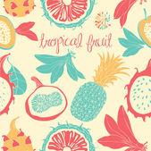 Tropic fruits. Seamless pattern. — 图库矢量图片