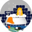 Girl taking a bath — Stock Vector