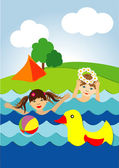 Children playing in the water — Stock Vector
