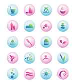 Wellness, spa, beauty and nature vector icons sets isolated on white — Stock Vector