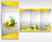 Bioladen broschüre design. bio-gemüse und früchte. broschüre ordner vektor. — Stockvektor