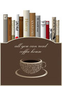Coffee menu card design template with books. Vector illustration. — Stock Vector
