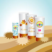 Sunblock lotions in the sand island with palms. Sun protection skin creams. Vector. — Stock Vector