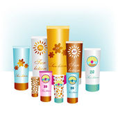 Sunblock lotions. Sun protection skin creams. Vector. — Stockvektor