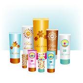 Sunblock lotions. Sun protection skin creams. Vector. — Stock Vector