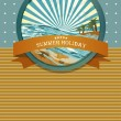 Summer retro background. Vintage seaside view illustration. - Stock Vector