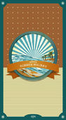 Summer retro background. Vintage seaside view illustration. — Stock Vector